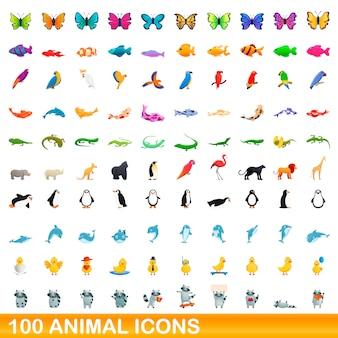 Набор иконок животных, мультяшном стиле