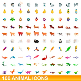 動物のアイコンセット、漫画のスタイル Premiumベクター