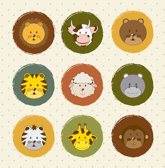 Animal icons over vintage background vector illustration