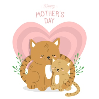 Animal illustration for mothers day concept