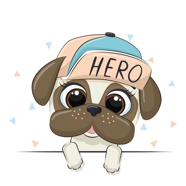 Иллюстрация животных с милой собакой мальчика в кепке.