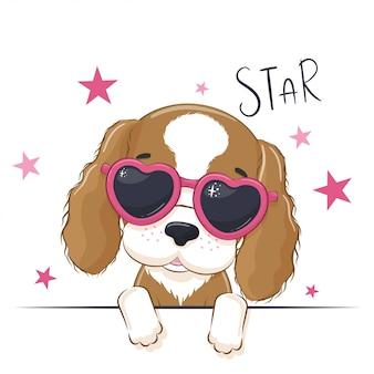 メガネでかわいい女の子の犬と動物のイラスト。