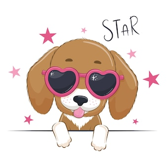 Animal illustration with cute girl dog with glasses.