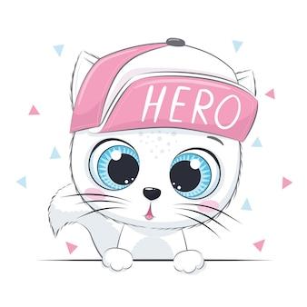 Иллюстрация животных с милым котенком в кепке.