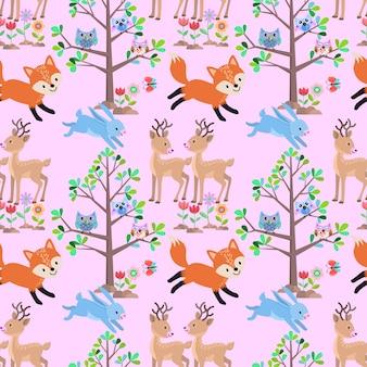 森のシームレスなパターンの動物。