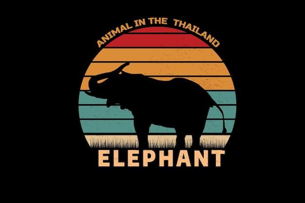 タイの象の色オレンジ黄色と緑の動物