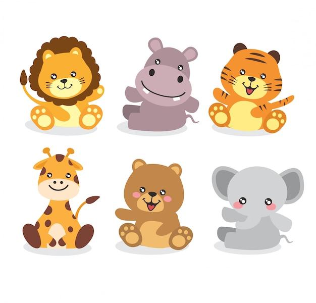 Animal kawaii cute vector pack design