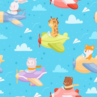 Animal kid characters in airplanes flying helicopter baby textile design