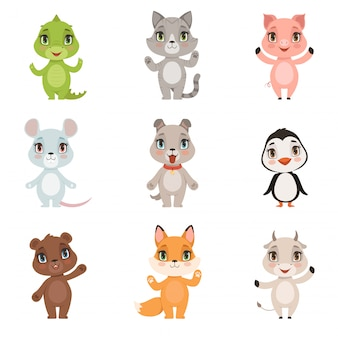 Animal kids collection, wild crocodile bear penguin fox domestic little cute funny baby animals dog cat goat pig characters isolated