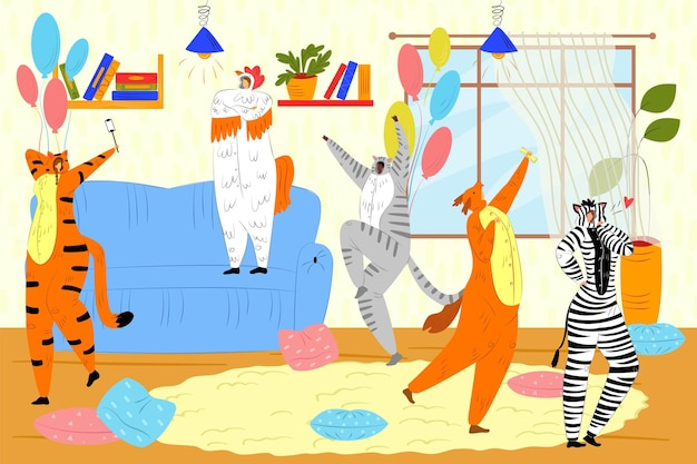 Animal kigurumi party vector illustration funny young man woman character dance in cute pajama happy...