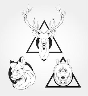동물 레이블 배지 복고풍 디자인 그래픽 요소 상징 로고