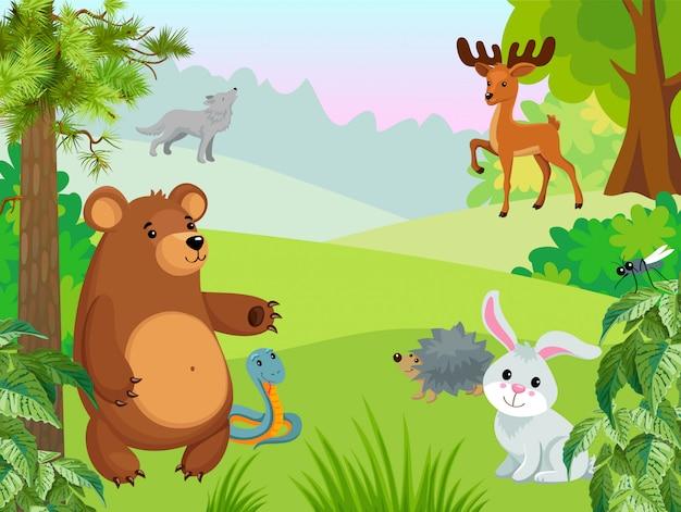 La vita animale nella foresta Vettore gratuito