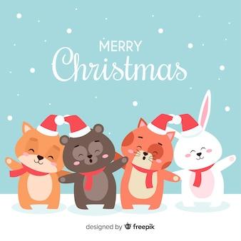 Animal line christmas background