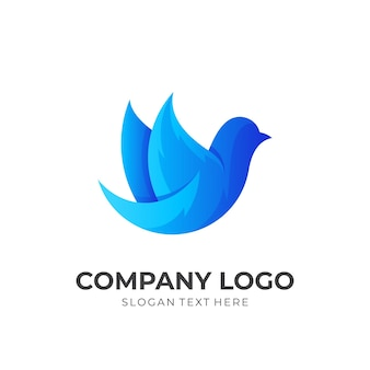 Animal logo with simple icons , blue icon template
