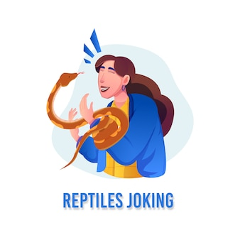 Animal lovers and reptiles joking with pythons