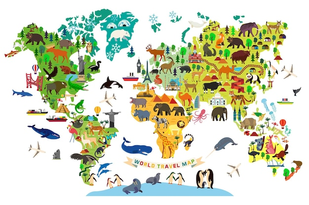 Animal map of the world for children and kids.  illustration.