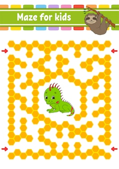 Animal maze for kids. sloth and iguana friends.