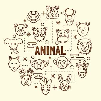 Animal minimal thin line icons set