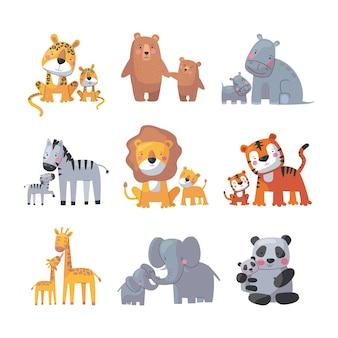 動物のお母さんと赤ちゃん、かわいい漫画の家族セット