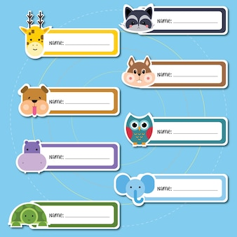 Animal name sticker