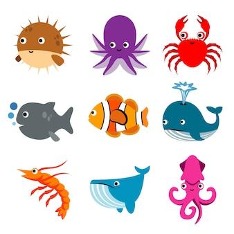 動物海洋水生水中漫画海の生き物
