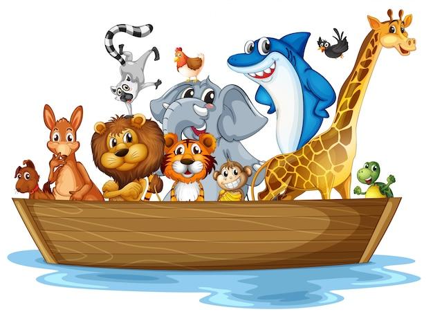 Животные на лодке