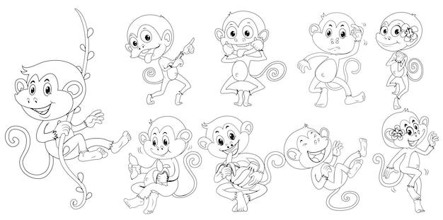 Наброски животных для обезьян в разных действиях