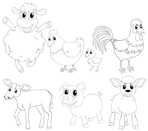 Animal outlline for different types of farm animals