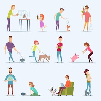 Владельцы животных. собака котенок аквариумные рыбки люди с милыми домашними животными героями мультфильмов.