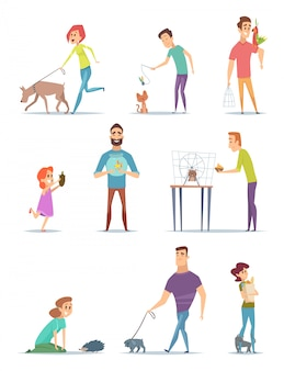 Animal owners. happy domestic pets with young male and female holders animals cats dogs walking  cartoons
