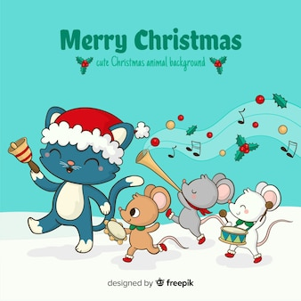 Animal parade christmas background