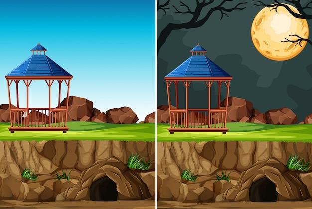 漫画のスタイルで昼と夜の背景に動物のいない動物公園の建設