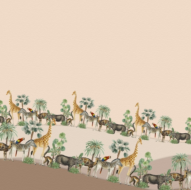 Animal pattern border vector frame with design space on beige background