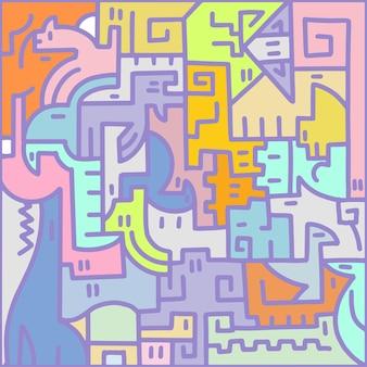 Образец животных. квадратные цветные векторные иллюстрации. пазл для детей. векторная иллюстрация