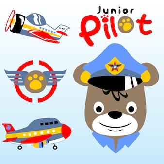Пилот животных с самолетами, векторный мультфильм