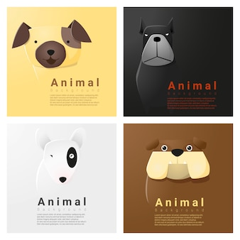 Animal portrait collection with dogs