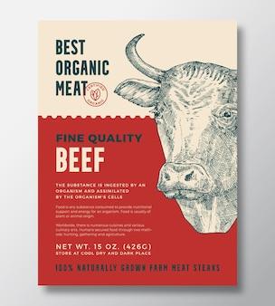 動物の肖像画有機肉抽象的なベクトルパッケージデザインまたはラベルテンプレート農場で育てられた牛肉ステア...