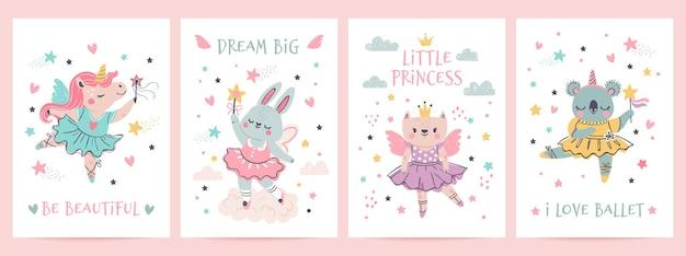 투투에 동물 공주입니다. 발레 드레스를 입은 마법의 요정 유니콘, 토끼, 고양이, 코알라. 스칸디나비아 보육 발레리나 인쇄 디자인 벡터 세트입니다. 그림 발레와 유니콘, 코알라와 토끼