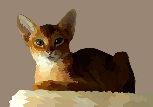팝 아트 초상화에 동물 프린트 고양이 외딴 장식