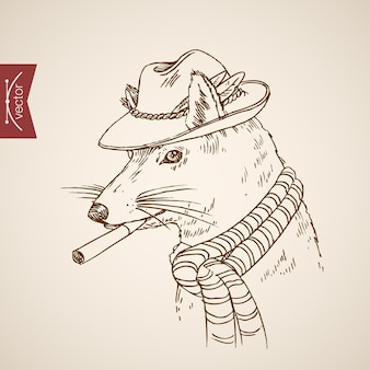 Animal rat mouse head hipster style human like clothes accessory wearing hat scarf cigarette.