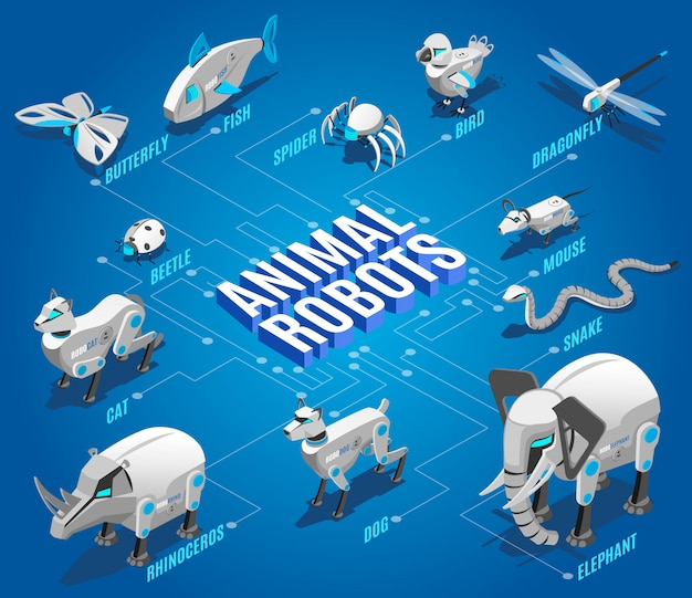 Animal robots isometric flowchart with automated pets companions remote controlled birds dragonflies drones insects devices