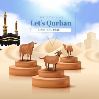 Banner di sacrificio animale per la festa islamica di eid al adha mubarak con illustrazione di capra, mucca e cammello
