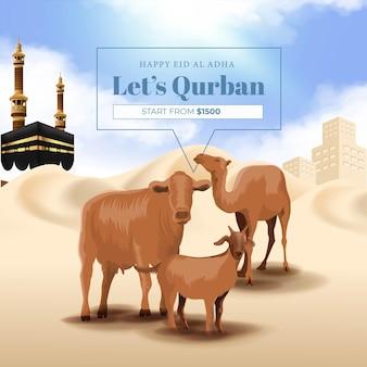 Banner di sacrificio animale per la festa islamica di eid al adha mubarak con capra, mucca e cammello
