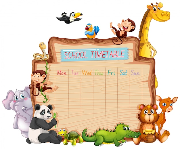Animal school timetable on white