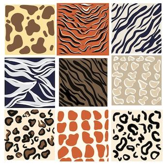 動物のシームレスなパターンコレクション