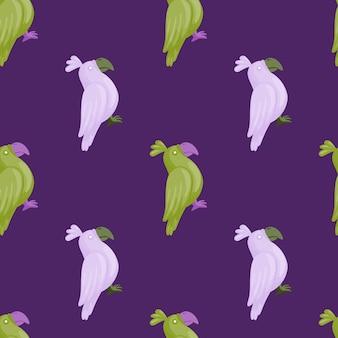 녹색과 라일락 앵무새 실루엣으로 동물의 완벽 한 패턴입니다. 보라색 배경입니다. 손으로 그린 스타일. 패브릭 디자인, 섬유 인쇄, 포장, 커버용으로 설계되었습니다. 벡터 일러스트 레이 션.