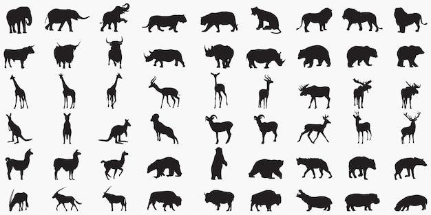 Animal set silhouettes