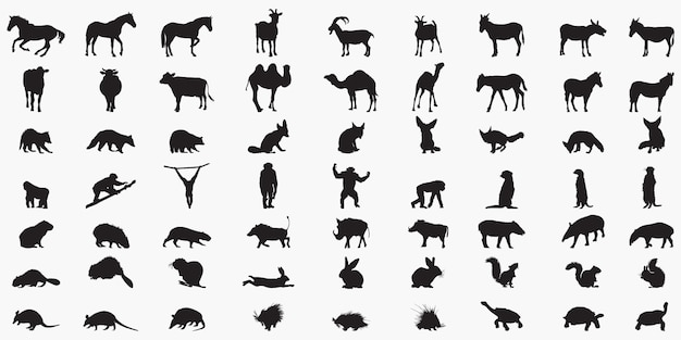Animal-set silhouettes