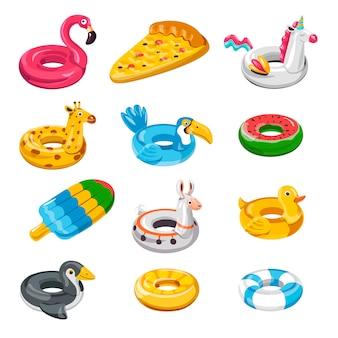 プールや海辺、救命浮輪で泳ぐための動物の形をしたインフレータブルバルーン