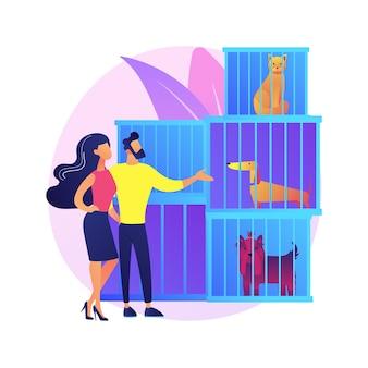 Illustrazione di concetto astratto rifugio per animali. salvataggio di animali, processo di adozione di animali domestici, scelta di un amico, risparmio da abusi, donazioni, servizio di accoglienza, organizzazione di volontariato
